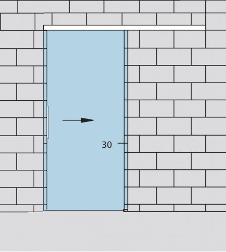 Раздвижная стеклянная дверь с доводчиком