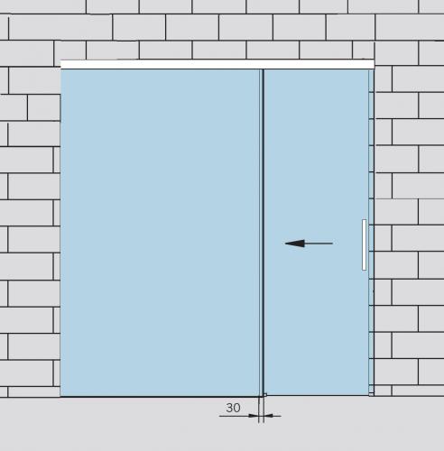 Раздвижная стеклянная дверь с неподвижным полотном